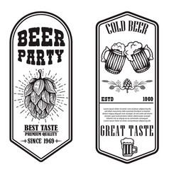 Set beer flyers with hop and beer mug design vector