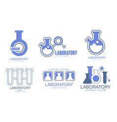 Set blue logos for laboratory vector