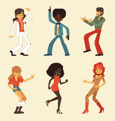 set of dancing retro disco vector image