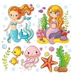 set on marine theme vector image