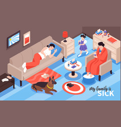 sick family isometric composition vector image