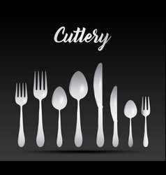 silver cutlery collection vector image