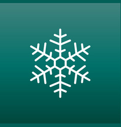 Snowflake icon in flat style on green background vector