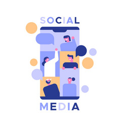social media phone app with happy people vector image