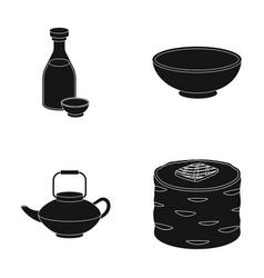 soy sauce noodles kettlerollssushi set vector image
