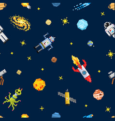 space seamless pattern background alien spaceman vector image