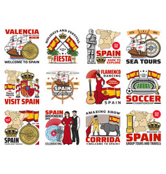 Spain travel spanish culture and history icons vector