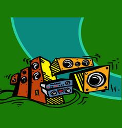 speaker system amplifier player front speaker vector image