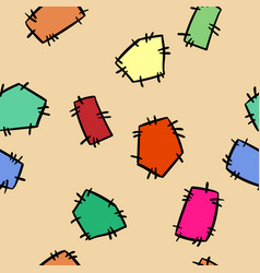 stitched doodles patches colorful seamless pattern vector image