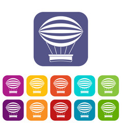 Striped retro hot air balloon icons set flat vector