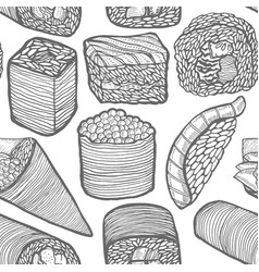 sushi pattern in hand-drawn style vector image