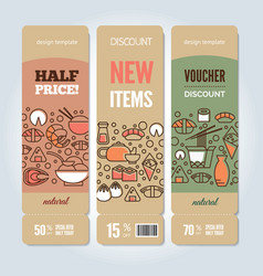 Sushi vertical banners vector