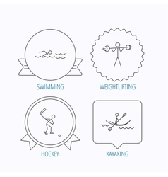 Swimming hockey and kayaking icons vector
