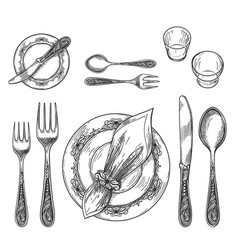 Table setting drawing vector