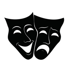 Theatre masks drama and comedy for vector