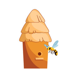 traditional wood hive for bees with bees around it vector image