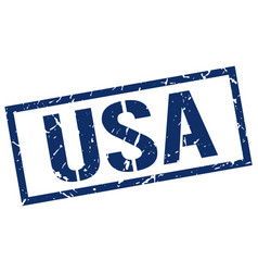 Usa blue square stamp vector