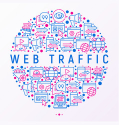 Web traffic concept in circle with thin line icons vector
