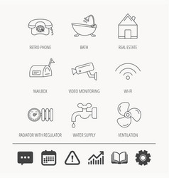 wifi video camera and mailbox icons vector image