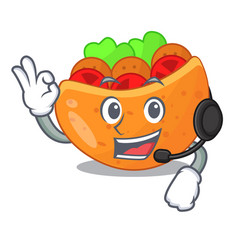 With headphone pita bread filled with vegetable vector