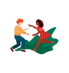 young man and woman running for each other vector image