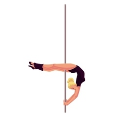 Young pole dance woman in black leotard doing vector