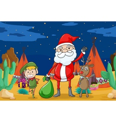 a boy a reindeer and santaclause vector image