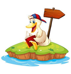 A duck reading beside the empty arrowboard vector image vector image