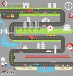 Abstract city map with infographic elements vector image vector image