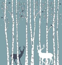 birch trees with deers vector image vector image