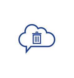 cloud trash icon computing concept vector image vector image