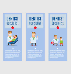 Dentist specialist flyers design vector
