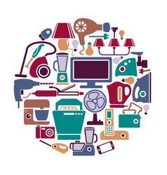 home appliances in the form of a circle vector image
