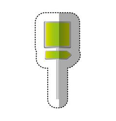 sticker metallic green square shape traffic sign vector image