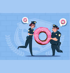 two police women holding donut wearing uniform vector image vector image