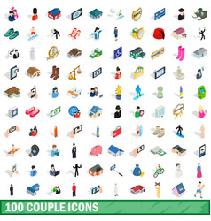 100 couple icons set isometric 3d style vector image vector image