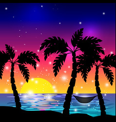 caribbean sea view with palm trees vector image