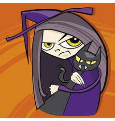 cartoon of funny witch with black cat vector image vector image