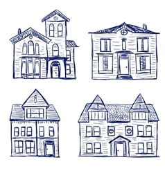 Houses doodles vector image vector image