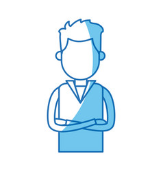 Portrait young man with cross arms blue line vector