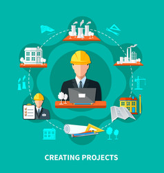 project creation circle composition vector image vector image