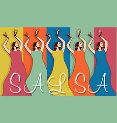 Woman salsa dancers vector