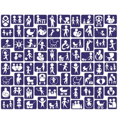 Icons family and children vector image vector image