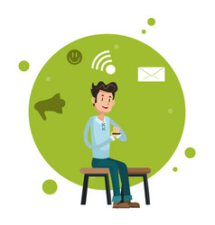 Man sitting chair smartphone network social media vector