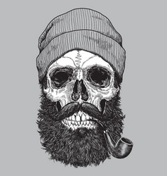 sailor sea captain hipster skull with pipe vector image