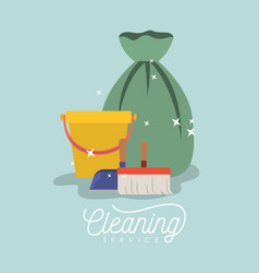 scrub brush and dust pan bucket and garbage bag vector image