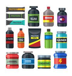 sports food gym nutrition icons set packs vector image