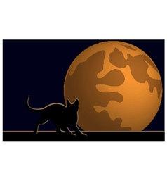 Wallpaper halloween moon cat vector image
