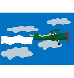 airplane banner biplane vector image vector image