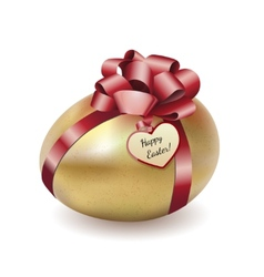 Easter gold egg with greeting card vector image